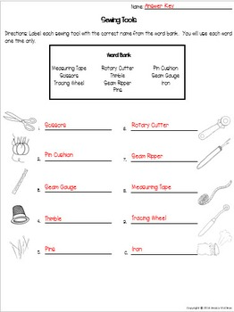 Sewing Vocabulary Quizzes