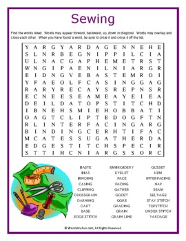 Sewing Word Search Puzzle