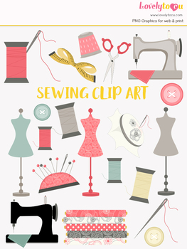 Sewing clipart, crafts clip art (LC18)