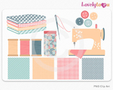 Sewing clipart set with fabric, PNG clip art (031)