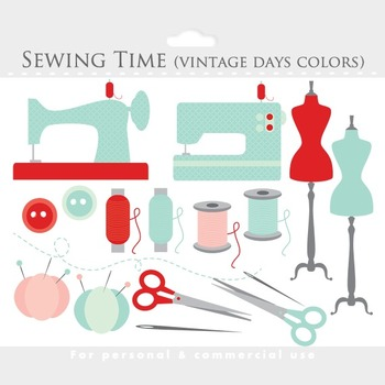 Sewing clipart - whimsical sewing clip art, vintage sewing machine, thread