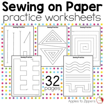 sewing on paper practice worksheets by apples to zippers tpt. Black Bedroom Furniture Sets. Home Design Ideas