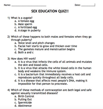 Sex Ed Packet