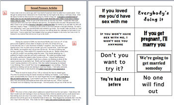 Health Lesson: Sex Education Pressure Lines + Assertive Refusals