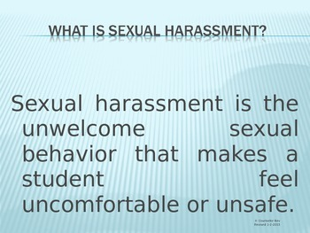Sexual Harassment READY TO USE (NO PREP)  Lesson w- video PowerPoint