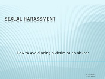 Sexual Harassment 4th, 5th, 6th Elementary Guidance Lesson