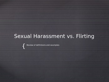 Sexual Harassment and Flirting Lesson