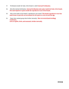 Sexual Reproduction in Animals Homework Assignment 1