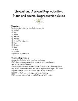 Sexual and Asexual Reproduction, Plant and Animal Reproduction Guide