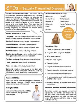 Sexually Transmitted Diseases Content Sheet, Worksheet & Answer Key