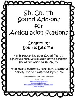 Articulation Station Add-On: Sh, Ch, Th Sounds