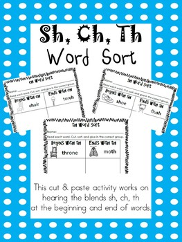 Sh, Ch, Th Word Sort