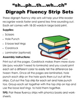 Sh Ph Ch Wh Th Digraph Phonics Fluency Reading Strips 5 Pack