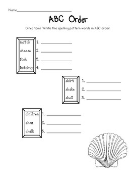 Sh, ch, and tch worksheet