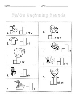 FREE! Sh/Ch Beginning and Ending Sounds