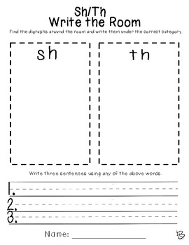Sh/Th Digraph Word Work (Write the Room)
