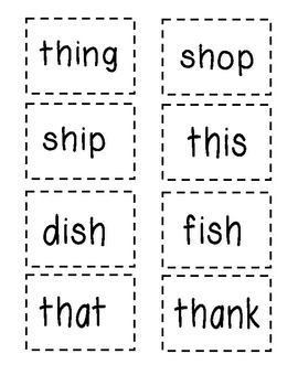Sh/Th digraph word cards