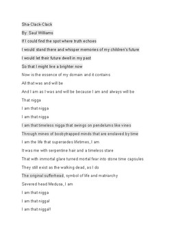 Sha-Clack-Clack by Saul Williams Slam poetry worksheet