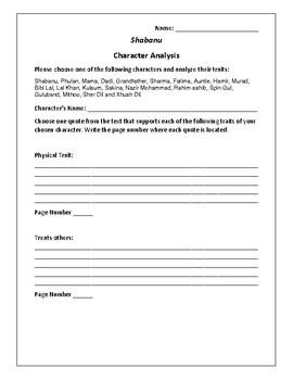 Shabanu - Character Analysis Activity - Suzanne Fisher Staples