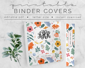 image about Printable Binder Inserts known as Lovable Floral PRINTABLE Binder Deal with Do-it-yourself Editable Words 8.5 x 11
