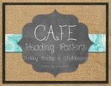 Shabby Burlap and Chalkboard CAFE Headers