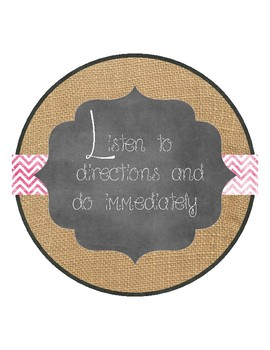 Shabby Burlap and Chalkboard Classroom Rules (variation 2)
