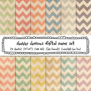 Shabby Chevrons Digital Paper Set, Grunge Pastel Colors Backgrounds