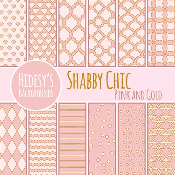 Shabby Chic 2 Pink and Gold Backgrounds / Digital Papers Clip Art Commercial Use