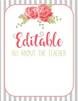 Shabby Chic All About The Teacher Template EDITABLE