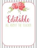 Shabby Chic All About the Teacher Template EDITABLE