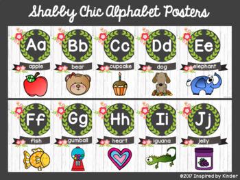 Shabby Chic Alphabet Posters {Vintage Floral Design}