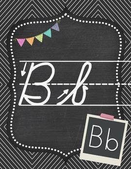 Shabby Chic Alphabet Set Chalkboard Theme Cursive Alphabet & Print Font