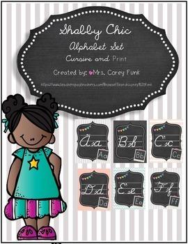 Shabby Chic Alphabet Set Chalkboard Theme Cursive Alphabet