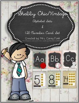 Shabby Chic Chalkboard Alphabet Set Classroom Decor Vintag