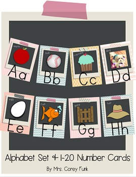 Shabby Chic Alphabet Set and 1-20 Number Cards Vintage Inspired