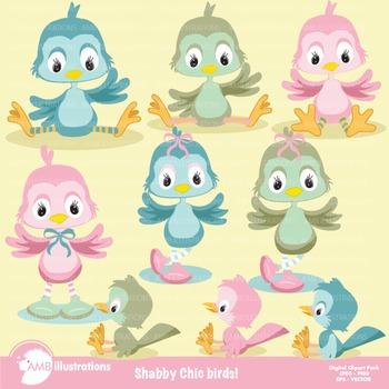 Shabby Chic Baby Birds Clipart AMB-829