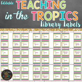 Beach Themed Library Book Labels