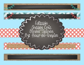 Shabby Chic Binder Spines-Editable-chalkboard,burlap,coral,turquoise