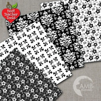 Shabby Chic Black Digital papers, Floral Lace Papers, AMB-1026