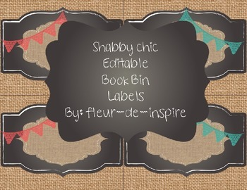 Shabby Chic Book Bin labels/other labels-turquoise, coral, burlap, chalkboard