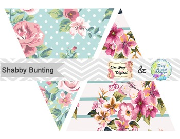 Shabby Chic Bunting, Printable Shabby Chic Banner, Blue Pink Bunting Flag, 0375