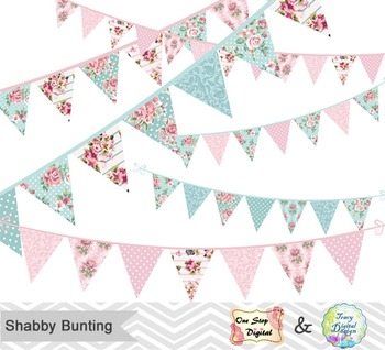Shabby Chic Bunting Digital Clip Art, Shabby Chic Banner D