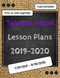 Editable or Printable Lesson Plan Book
