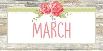 Shabby Chic Calendar Headings