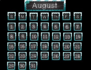 Shabby Chic Calendar Pieces - 2 sets - Burlap, Wood and Chalkboard, Teal