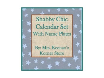 Shabby Chic Calendar Set with Name Plates and Classroom Labels