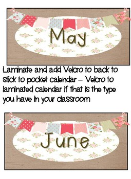 Shabby Chic Circle time/Calendar Math set with BONUS classroom job cards