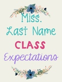 Shabby Chic Class Rules* Editable Teacher Name*