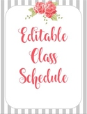 Shabby Chic Class Schedule EDITABLE