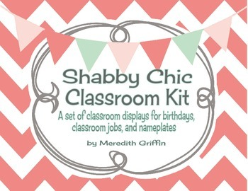 Shabby Chic Classroom Charts Kit Birthdays Jobs Nameplates Burlap Rustic Chevron